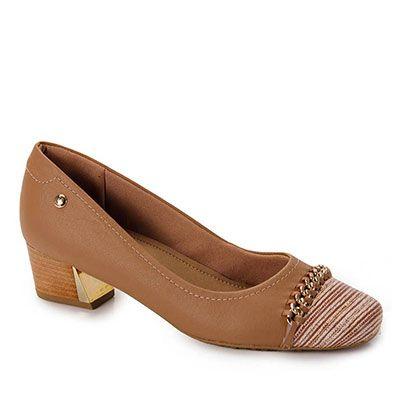 Sapato Salto Conforto Feminino Usaflex - Bege