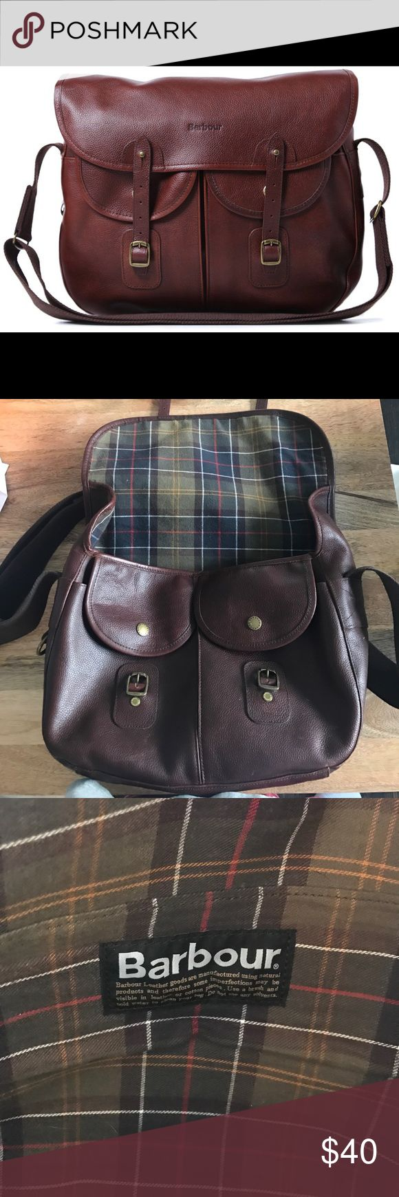 Barbour Leather Tarras Bag Great leather bag. Minimal wear on corner and back. Excellent work bag. Hold small laptops (hold my MacBook Air). All clasps and snaps in working condition. Adjustable strap. Barbour Bags Shoulder Bags