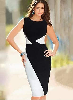 Polyester Others Sleeveless Knee-Length Elegant Dresses (1013935) @ floryday.com