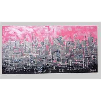 """Quadri Città. """"Pink-City"""" ( Città rosa ) Tecnica mista su tela a cassetto. Sullo sfondo, due tonalità di rosa: freddo e perlescente. La città astratta è sfumata in tre toni: argento-acciaio-ferro battuto. Mattoncini di perle e glitter per le decorazioni. La città è donna!! Un quadro astratto di città al femminile, da vivere in camera da letto o in un angolo personale con tonalità eleganti, con luminosità argento in risalto sul rosa di fondo."""