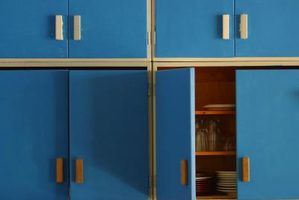 Update Formica cabinets with brightly colored paint.