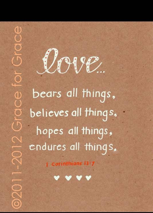 Bible Verse Art Love Bears Believes Hopes by graceforgrace