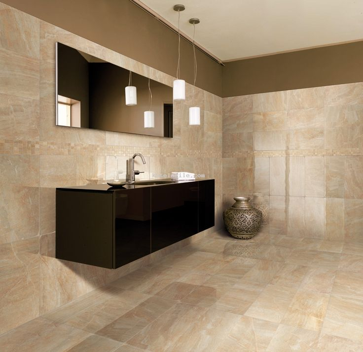 Gray and beige floor tile beige porcelain ceramic for Black and cream bathroom ideas