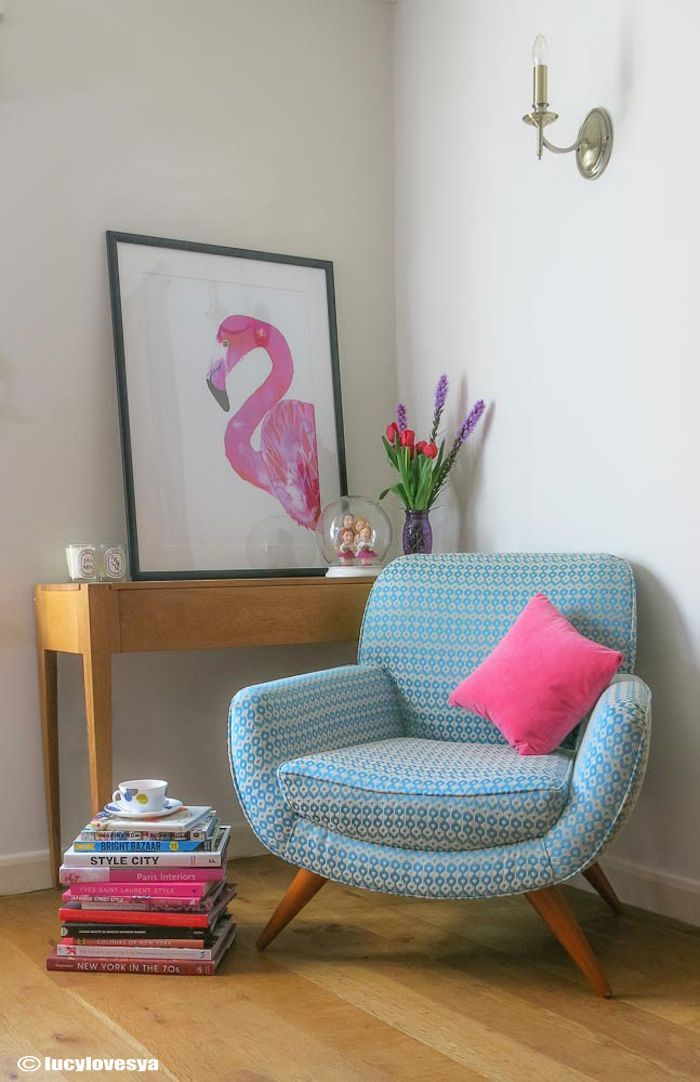 My blue Retro Chair Covered in CLARKE & CLARKE Chico fabric - do you like my flamingo art print too? Colour inspiration in the living room