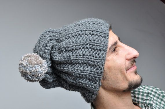 Gray Slouchy Beanie Hat Mens Beanie Hand Knit by pompomhats
