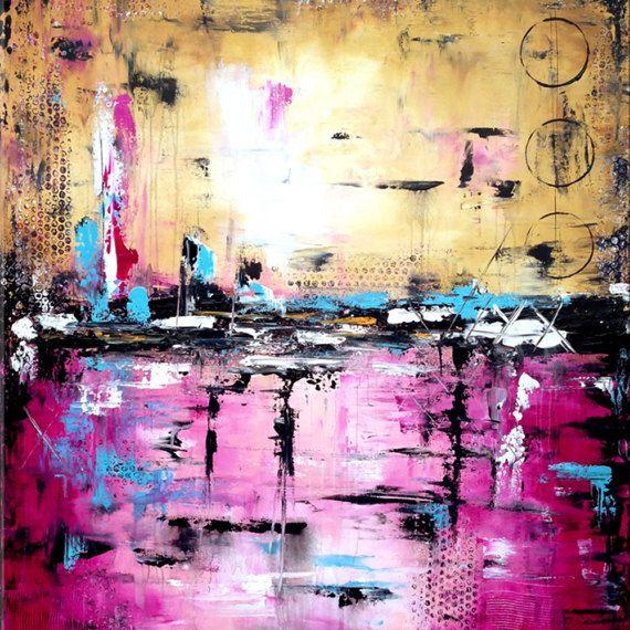 Grote abstracte paarse kunst handgemaakte Abstract schilderij
