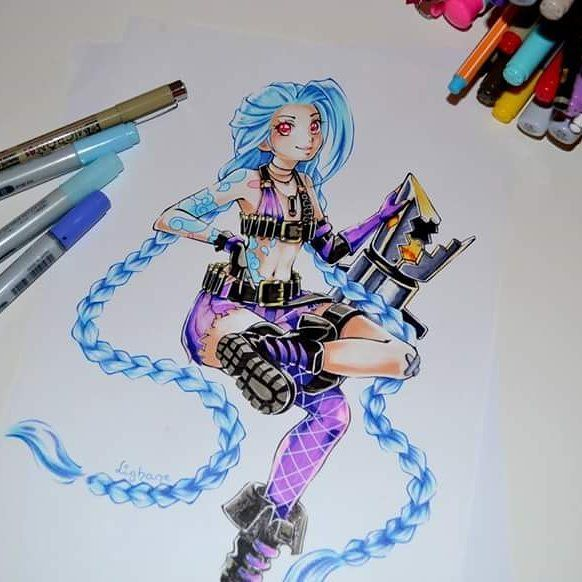"""After all these Star Guardian drawings it's time for another commission piece xD Classic Jinx - after she's been busy all night hunting villains she's back to """"normal"""" xD I guess Cait and Vi have no idea she's acutally helping incognito ;P  #jinx #lol #leagueoflegends #Lighane #lighanesartblog #hotpants #socks #cute #kawaii #manga #anime #sweet #piltover #vi #caitlyn #copic #marker #traditiinal #art"""