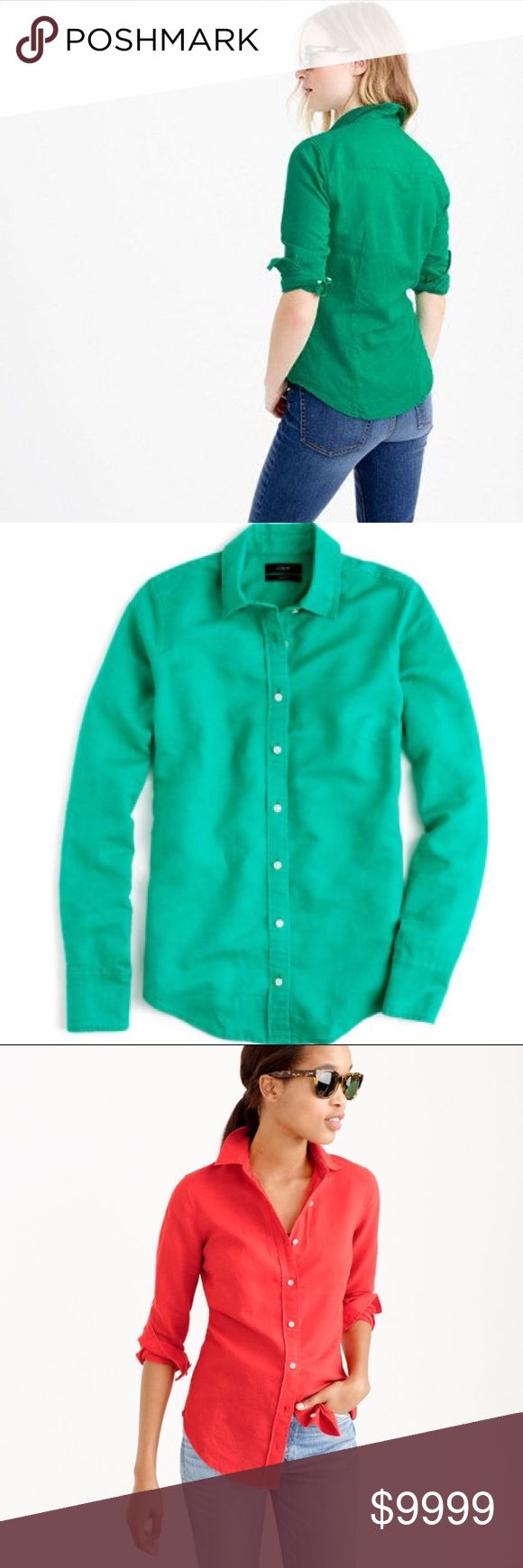J. Crew Perfect Shirt in Cotton-Linen Our perfect shirt features precisely placed darts for a slimming, waist-defining fit that's a bit more tailored than our boy shirt. We made this one in a supersoft cotton-linen blend, then dyed it for a rich, nuanced color.  Cotton/linen. Long roll-up sleeves. Machine wash Color:Green Imperfections: some navy markings on back left shoulder Measurements coming soon! J. Crew Tops Button Down Shirts
