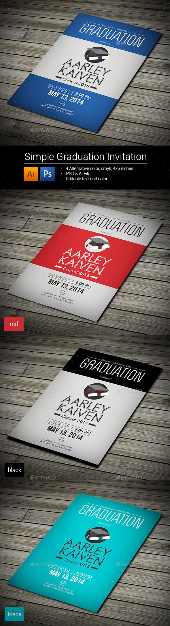 graduation party invitation templates for word%0A Simple Graduation Invitation  u     Photoshop PSD  simple  red  u     Available here      https