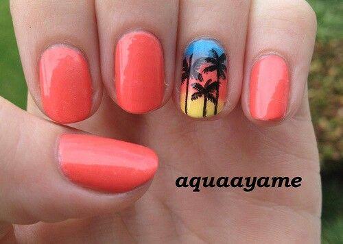 Sunset Palm Tree Nail