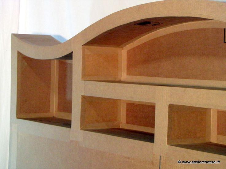 patron meuble en carton t te de lit halba 2 personnes cardboard furniture and paper mache. Black Bedroom Furniture Sets. Home Design Ideas