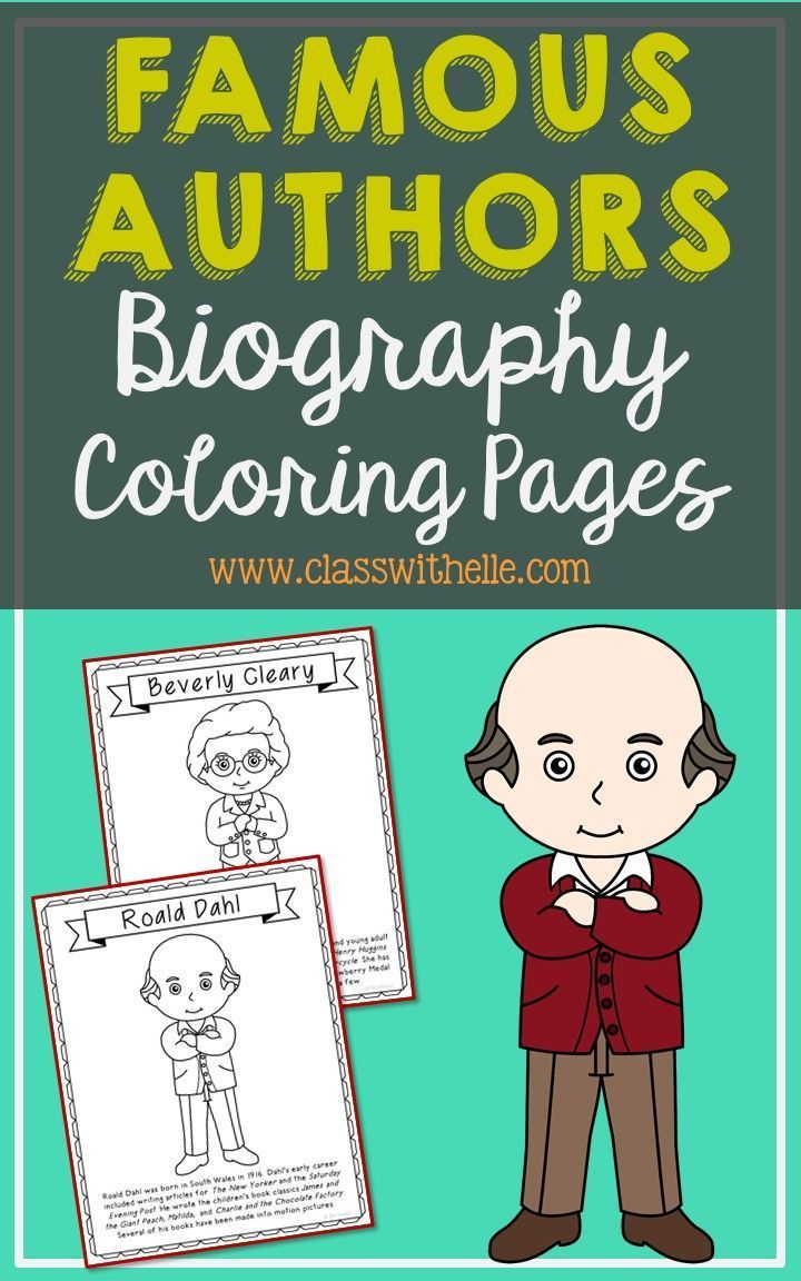 Set of 12 Famous Authors with Short Biographies Coloring Pages or Posters. Makes a great addition to your music history interactive notebooks, biography projects, or research units. Keep these in your early finisher folder for no-prep fun. Authors included: A.A. Milne, Beatrix Potter, Beverly Cleary, C.S. Lewis, Cynthia Rylant, Chris Van Allsburg, David Shannon, E.B. White, J.K. Rowling, Judy Blume, Roald Dahl, Shel Silverstein