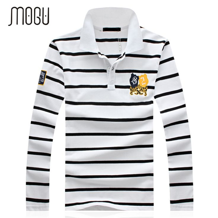 MOGU 2017 Spring Autumn Long-sleeve Polo Shirt Men Fashion Stripe Polo Men Turn-down Collar Long Sleeve Shirt Plus Size 4XL 5XL
