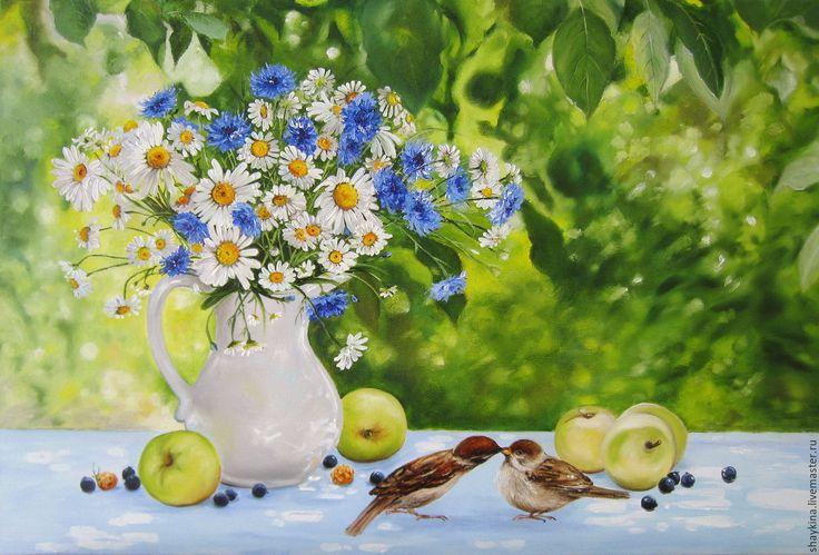 """Купить Картина маслом. """"Поцелуй в саду"""" - картина, картина маслом, Живопись, живопись маслом, цветы"""
