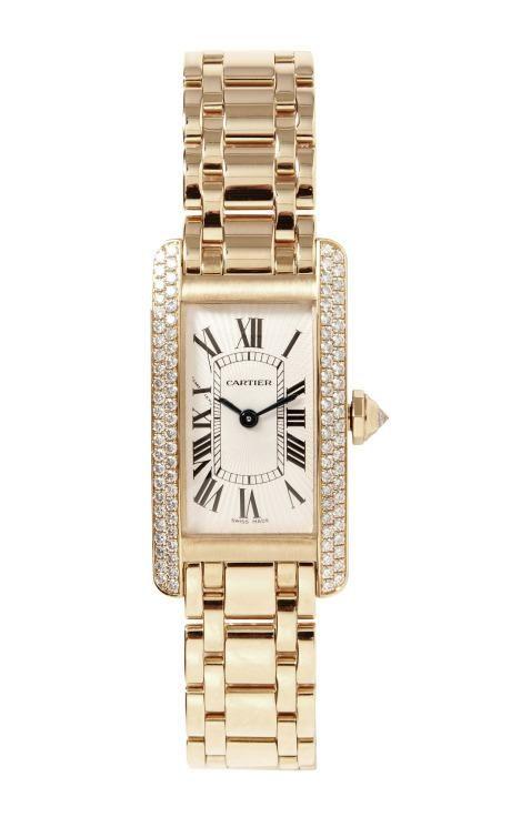 Cartier 18K Yellow Gold Diamond Tank Americaine Quartz Watch From Beladora by Beladora for Preorder on Moda Operandi