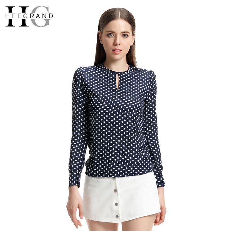 HEE GRAND Blusas 2016 Hot Sale Hollow Out Fashion Women Tops Full Sleeve Casual O-Neck Polka Dot Chiffon Blouse WCX733