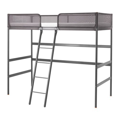 IKEA - TUFFING, Loft bed frame, , You can use the space under the bed for working or studying by completing with SVÄRTA desk top, or create a cozy spot for sitting.A good solution where space is limited.It's easier to get in and out of the bed with a centered ladder.