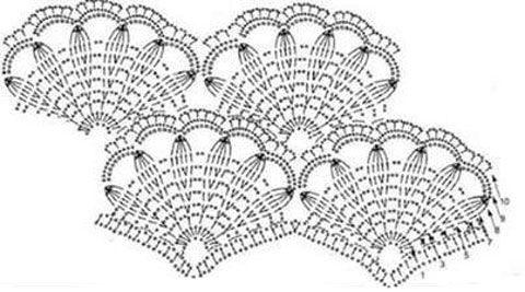 Схема вязания крючком ажурного узора «веера». Прекрасно подойдет для вязания детских платьев.