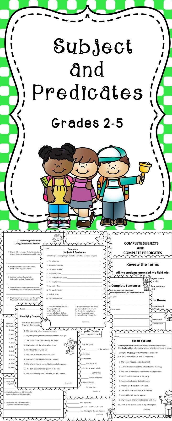 Subjects and Predicates - This activity pack includes a variety of educational activities to use when teaching elementary students about subjects and predicates.