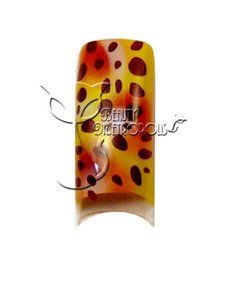 Leopard Print Pre-designed Acrylic/UV Gel Artificial/False French Nail Tips (70 pcs.) by Beauty Metropolis. $9.99. Save time and effort while offering your clients intricate airbrushed nail designs that will keep them coming back.  Create a stunning set of designer french nails or file to the desired shape before applying clear acrylic or UV gel overlay.  Charge extra for designed tips and watch your income grow.  Includes 10 sizes, packed in clear bag.  Colors may sli...