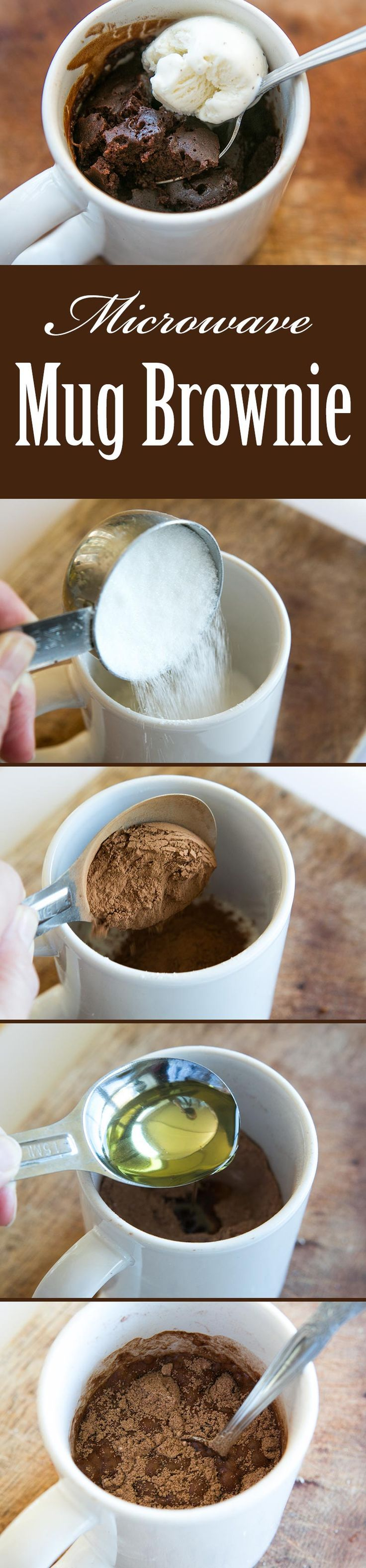 Easiest brownie ever! Single serving brownie microwaved in a mug. Takes only 5 minutes to make! On SimplyRecipes.com