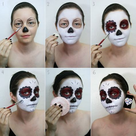 33 Simple Sugar Skull Makeup looks-2018 DIY Halloween Makeup Ideas