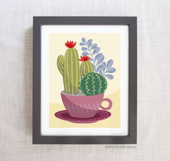 Blooming Cactus Teacup Garden Natural Giclée by esilverdesign, $20.00 on Etsy
