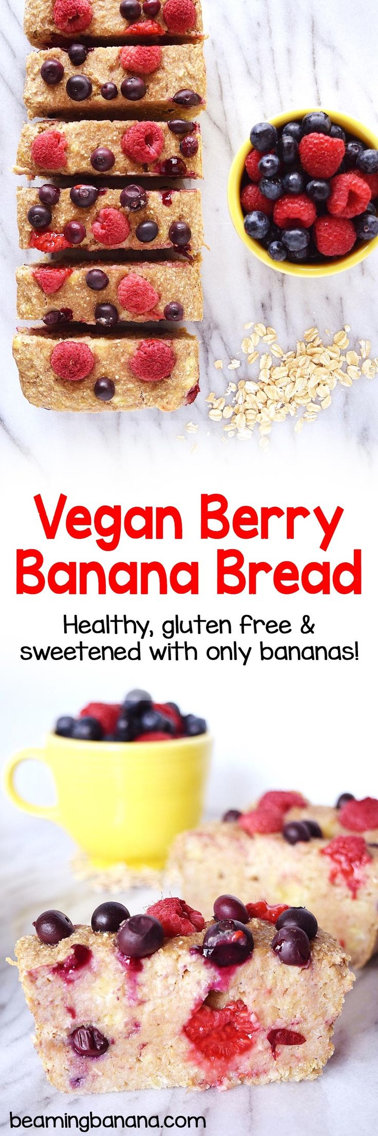 Soft, sweet banana bread full of fresh, juicy berries! This vegan berry banana bread is easy to make, healthy, gluten free and totally naturally sweetened.