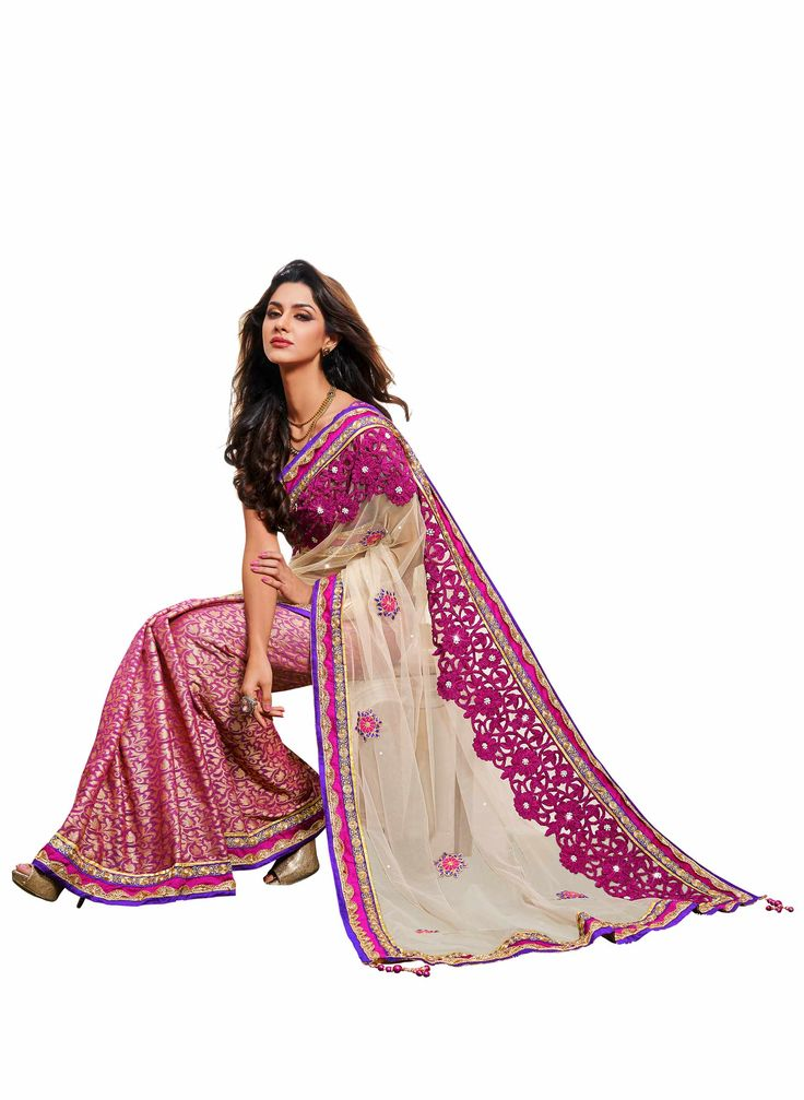 Shop Mahotsav Net Jequard Cut work #designersaree - (Light Beige) online at lowest price in USA and purchase various collections of #Partywearsarees in Mahotsav brand at grabmore.com the best online #shopping store in USA.
