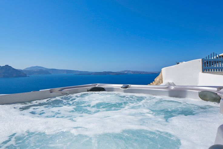 Take a break for the hustle and bustle in your private Jacuzzi at the Canaves Oia Villa