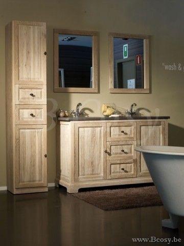 Lee&Lewis Bath Kast Blauwe Natuursteen Eik Wit Finish 140 Landelijke badkamer-Landelijk badkamermeubel