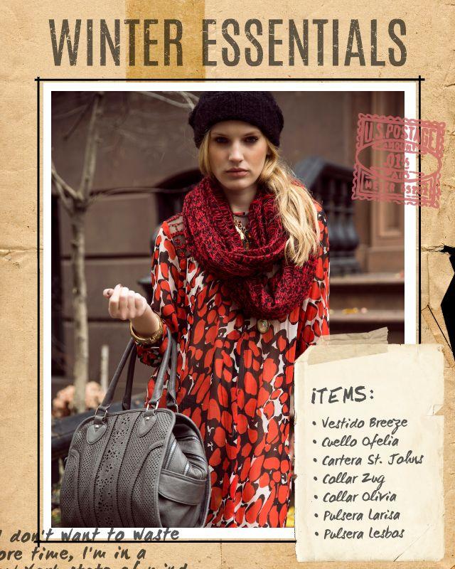 Vestido Breeze / Cuello Ofelia / Cartera St. Johns / Collar Zug / Collar Olivia / Pulsera Larisa / Pulsera Lesbos #winteressentials #indiastyle