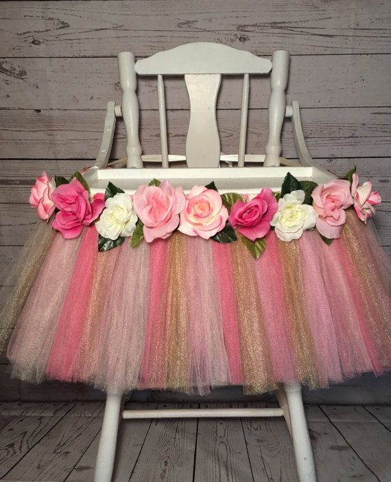 Pink/Gold/Ivory High Chair Tutu-Alice in by AvaryMaeInspirations