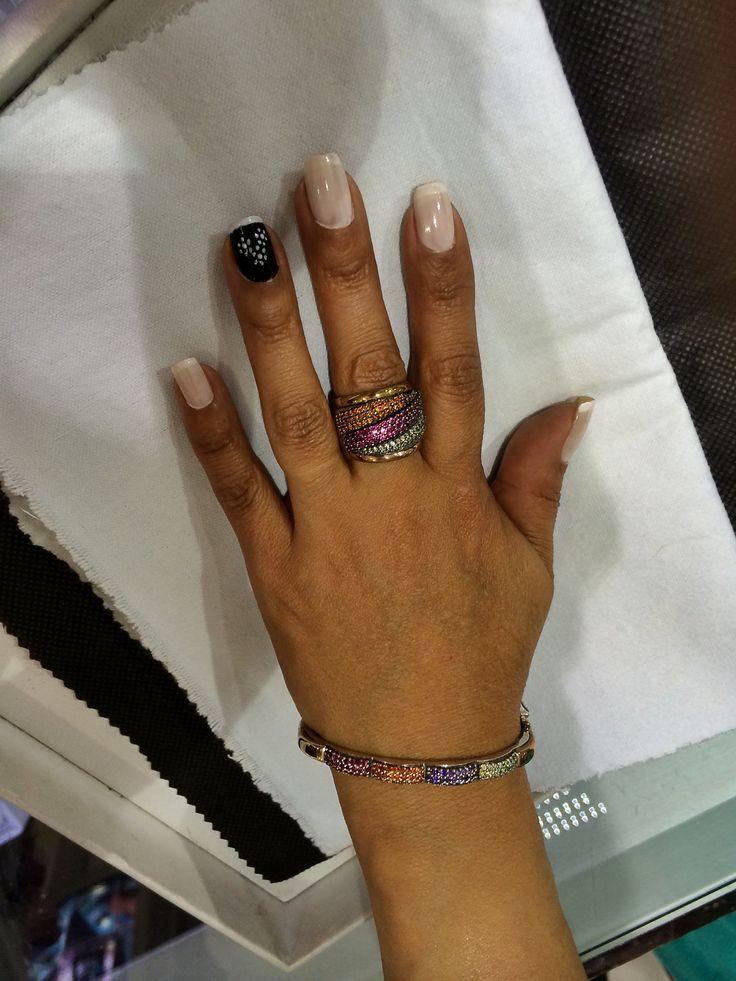 Pulsera y anillo oro plata zircon color