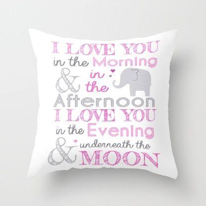 Elephant nursery print - Pink Throw Pillow