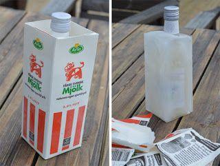 Håll snapsen kall länge – frys in den i ett isblock. Allt du behöver är en mjölkkartong, vatten och en frys. Midsommar DIY. Missummer.