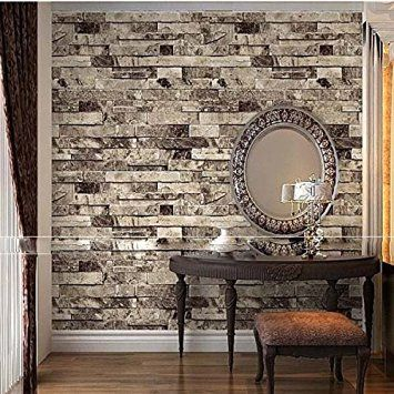 "QIHANG Vintage Brick Wall Wallpaper / Embossed Textured Bricks 4 Color For Choose 0.53m(20.8"")*10m(32.8')=5.3㎡(57sqfeet) (Cyan-Blue): Amazon.co.uk: DIY & Tools"
