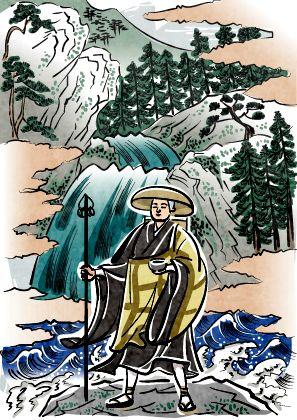 四国八十八ヶ所四国の聖域霊地で修行する弘法大師空海のイラスト