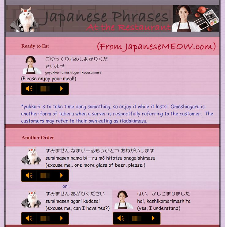 This is a collection of Japanese Phrases that you can use in a restaurant.    For more phrases, check out japanesemeow.com