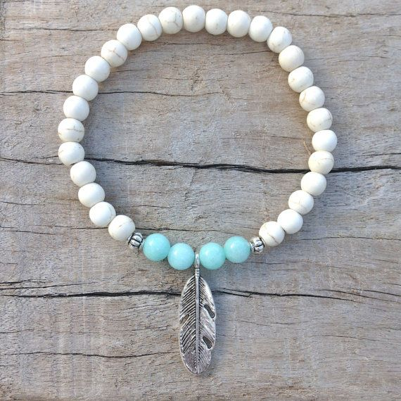 feather bracelet  beach bohemian bracelet  by beachcombershop