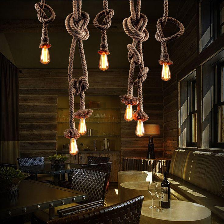 Industrial Retro Country Hemp Rope Ceiling Chandelier Pendant Edison Lamp Light #Unbranded