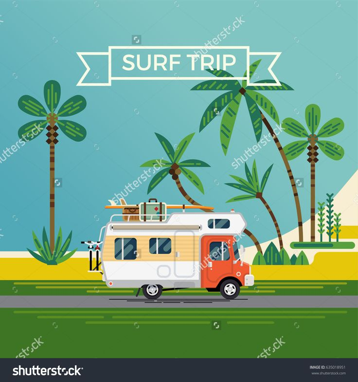 Cool flat design illustration on 'Surf Trip' featuring palm beach and caravan truck with extra luggage on top, bicycles and surf boards. Summer trip concept background