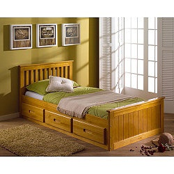 H1015_6803232 Features: -Mission Storage Bed.-Made of Pine, except the bottom of the drawers.-Drawers can be used on left or right side of the bed.-Mattress not included. Includes: -Includes three drawers for ample storage. Options: -Available in several finishes.-Available in Single size (fits 30 Single Mattress). Assembly Instructions: -Home assembly required. Dimensions: -Dimensions: 80cm H x 196cm L x 100cm W.