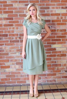 Love the ruched top and layered skirt (top layer coming up in front).  Jasmine Modest Dress in Sage