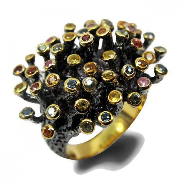 Multi Stones ring with dark Rhodium and Gold plating
