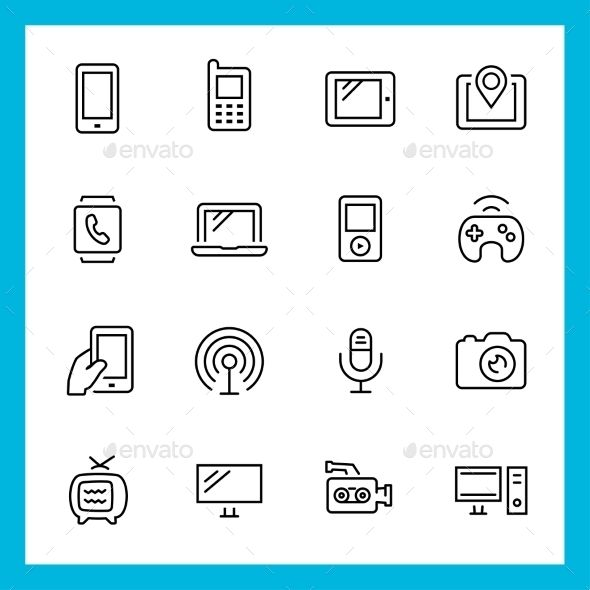 Devices and Technology Vector Thin Line Icon Set