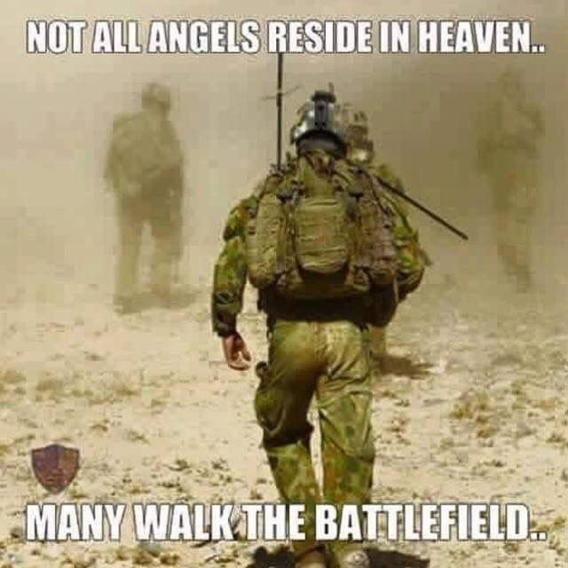 """Not All Angels Reside in Heaven Many Walk the Battlefield"""