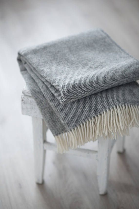 Throw blanket christmas gray, Wool Throw, Sofa throws, Gray blanket, Wool blanket, Throws for sofa, Throw blanket  Features: - Materials : 100% Natural Wool - Size: 4 ft 7 inch x 5 ft 7 inch + fringes / 140 cm x 170cm + fringes - Color: Gray  Throw blanket, made from 100% wool, will keep