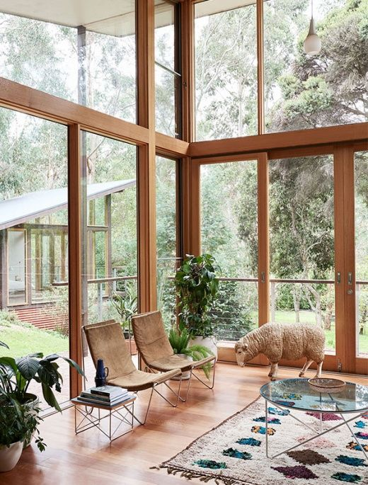 A tour of Stace Burt and Kenny Pomare's family home/ bush retreat in the leafy Melbourne suburb, designed by architect Alistair Knox.