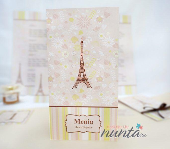 Meniu in nuante pastelate, cu model floral si Turnul Eiffel Je t'aime, potrivit pentru o nunta cu tematica Paris.